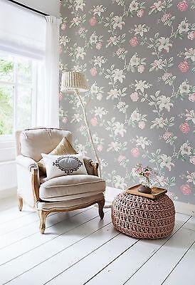 1 Von 2Kostenloser Versand Vlies Tapete Florales Blumen Muster Grau Rosé  Creme Weiß Braun Summer Breeze