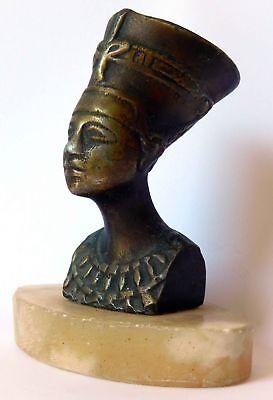 Vtg Antique Bronze Statue Sculpture Egyptian Queen Pharaoh Nefertiti Marble Base