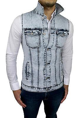 ... Smanicato Di Jeans Uomo Diamond Giubbotto Gilet Casual Slim Fit Super  Aderente 3 01ff73a15b6