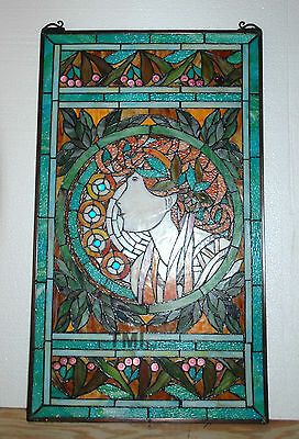"20"" x 34"" Tiffany Style stained glass window panel Jeweled deco girl 11"