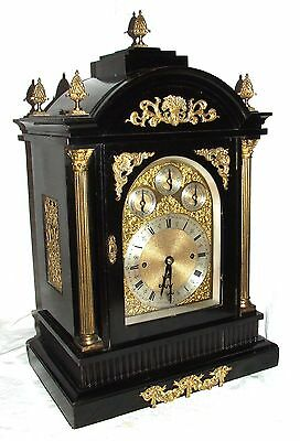 Massive Triple FUSEE Musical Mantel Bracket Clock on 8 Bells & Westminster Chime 2