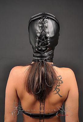 Ledermaske Vegan mit Mundschutzmaske bdsm Leder Hood Kopfmaske Gimp mask bondage 4