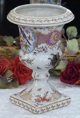 Porzellan Vase Bronze Prunkvase Pokal Blumenvase Tischvase Craquele Prunkgefäß 2