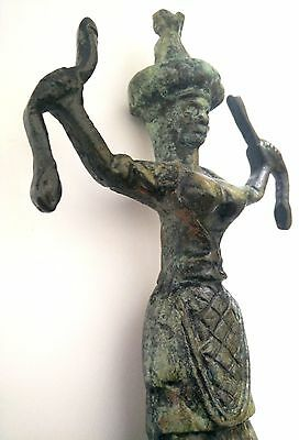 Ancient Greek Bronze Museum Statue Replica Of The Snake Goddess Collectable 1250 7