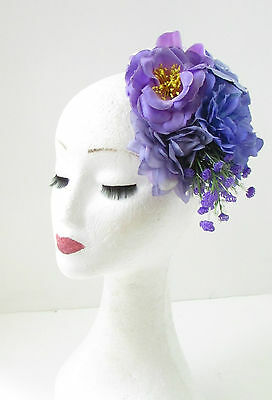 Purple Lilac Rose Peony Flower Fascinator Hair Clip Rockabilly Races Vintage 103 3