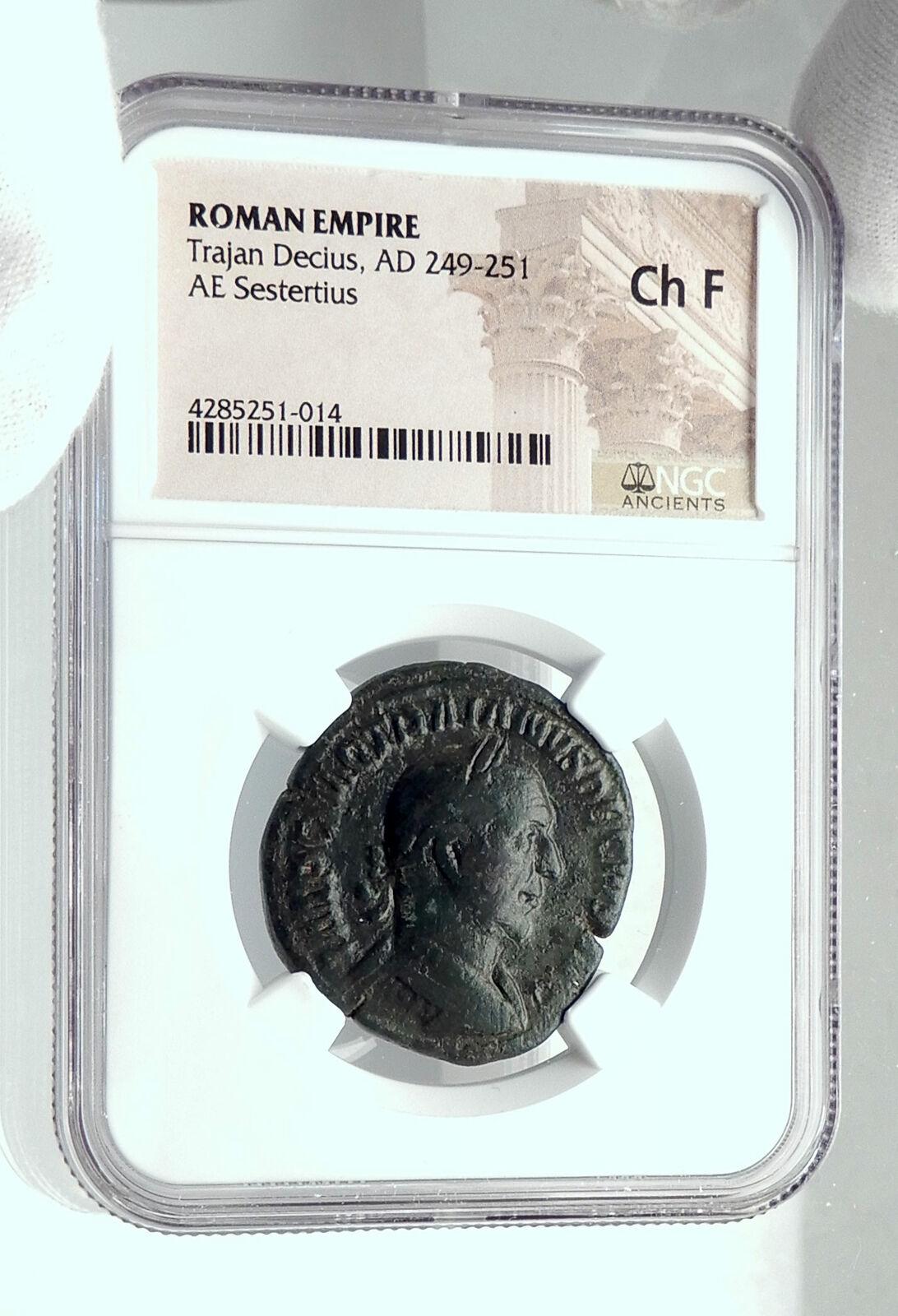 TRAJAN DECIUS Authentic Ancient Rome Sestertius Roman Coin DACIAS NGC i79194 3