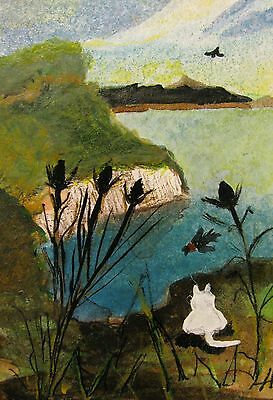 """A444 Original Acrylic Art Aceo Painting By Ljh One-Of-A-Kind """"Ireland Landscape"""" 3"""