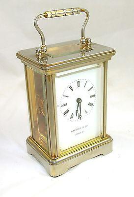 ENGLISH GARRARD & CO LONDON W1 Brass Carriage Clock with Original Box : Working