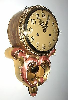 Antique Style Cartel Wall Clock Pink & Gilt Decorative Finish Shabby Chic 2
