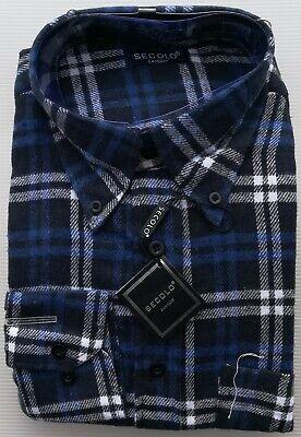 Rionero Camicia Uomo in Flanella rasata a Quadri Tinta Unita con Taschino Classica l XXL