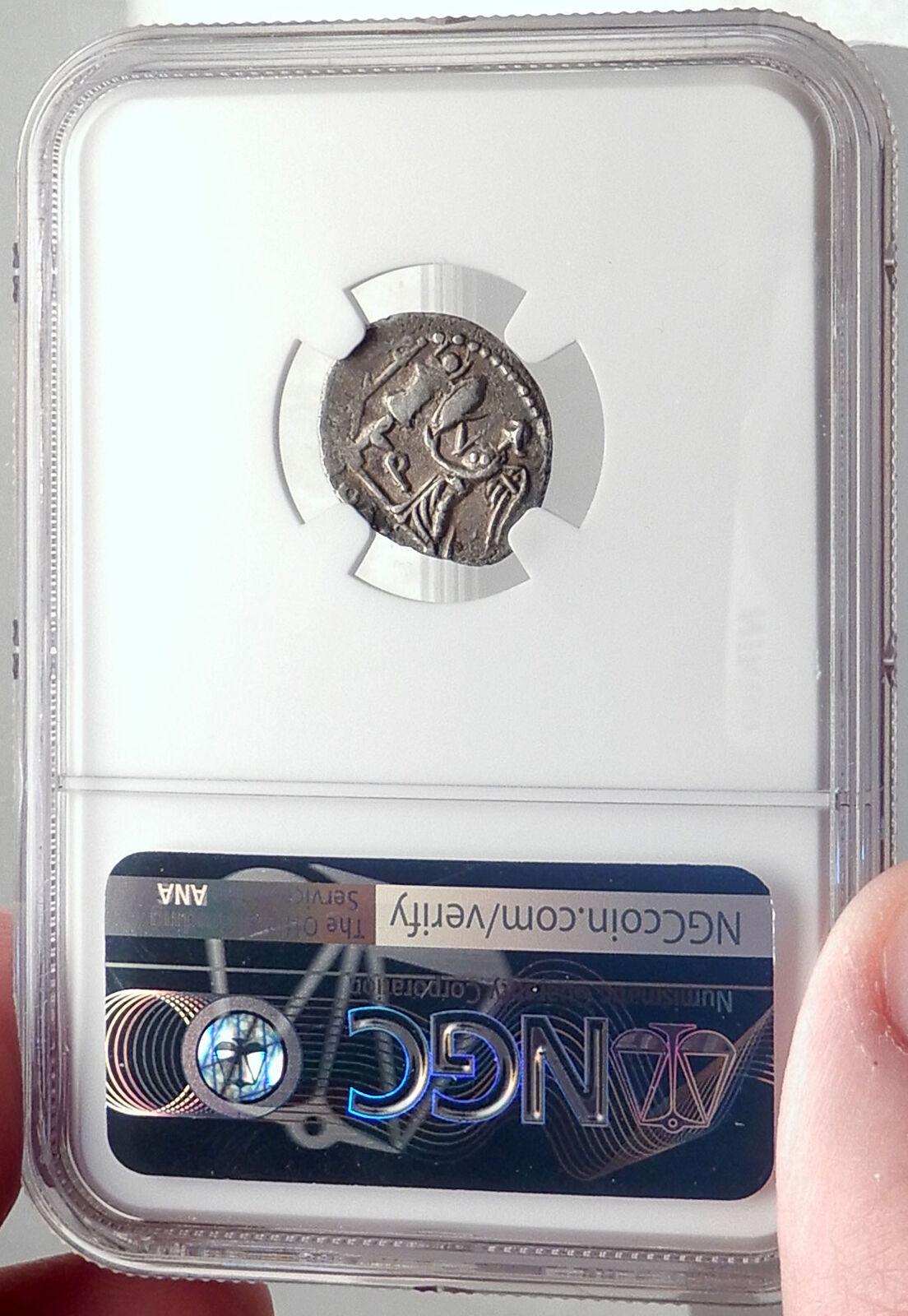 Roman Republic Ancient Silver Coin of Rome APOLLO TROPHY Quinarius NGC i70174 4