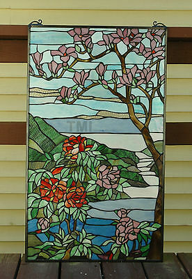 """20"""" x 34"""" Tiffany Style stained glass Jeweled window panel Cherry Blossom 5"""