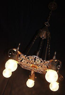VINTAGE GOTHIC REVIVAL ART CRAFT DECO CAST METAL CHANDELIER FIXTURE 30's 5