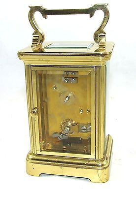 ENGLISH GARRARD & CO LONDON W1 Brass Carriage Mantel Clock & Key : Working (58) 7