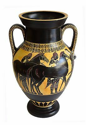 Heracles fighting Lion - Goddess Athena - Ancient Greek Amphora - Museum Replica