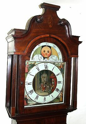 Antique Inlaid Mahogany Moon Phase Longcase Grandfather Clock FURNIVAL OLDHAM 2