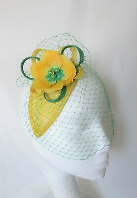 Canary Daffodil Yellow & Emerald Green Fascinator Headpiece Wedding Ascot Races 5