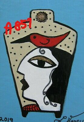 "A864 Original Acrylic Art Aceo Painting By Ljh  ""Picasso Lady"" 2"
