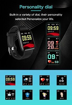 116Plus Smart Watch Bluetooth Heart Rate Blood Pressure Monitor Fitness Tracker 9