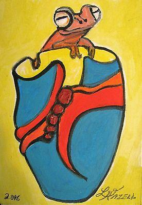 "C311    Original Acrylic  Painting By Ljh  ""Rose Bowl"" 8"