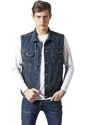 Dettagli su URBAN CLASSICS Giacca Giubbotto Jeans uomo Sherpa Denim Jacket Darkblue