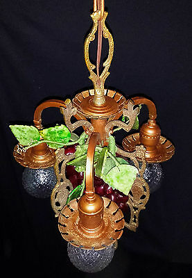 Vtg Gothic Revival Deco  Metal Chandelier Fixture Wine Country Grape Clusters 7