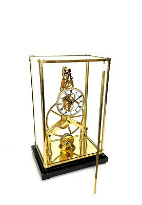 24K Gold Plated 8 Day Great Wheel Fusee Driven Porcelain Dial Skeleton Clock 2