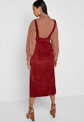 newest selection biggest selection really cheap BNWT TOPSHOP PINAFORE Dress Size 8 Midi Cord Burgundy Red Leg Split Pocket  Strap