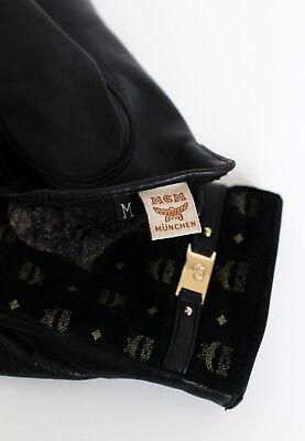 MCM Munchen black leather suede gloves Medium 5