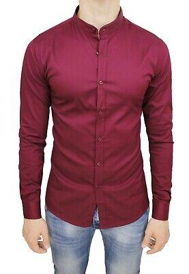 Camicia Uomo Casual Slim Fit Bordeaux Cotone Stretch Con Colletto Alla Coreana 2