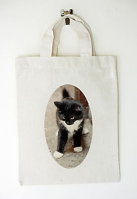 DIY CD Clock KIT. Black & White Kitten, in small canvas gift bag with Cat Motif 2