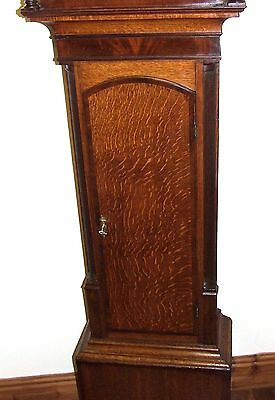 Antique Rolling Moon Oak & Mahogany Longcase Grandfather Clock MOYLE CHESTER 7