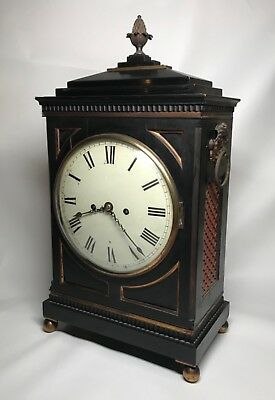 Early 19th Century Ebony or Ebonized  Regency Fusee Bracket Clock with Bracket. 2