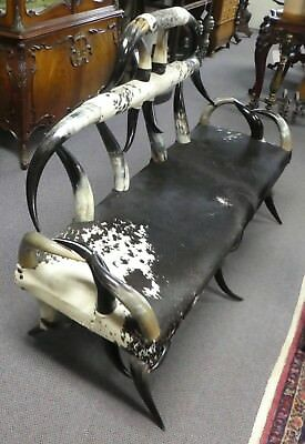 """American Victorian Horn Settee Sofa. Sturdy Solid Comfortable. 62""""Wide x 43""""H 2"""