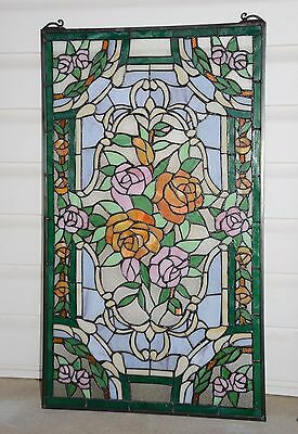 """20"""" x 34""""Rose Flower Tiffany Style stained glass window panel 9"""