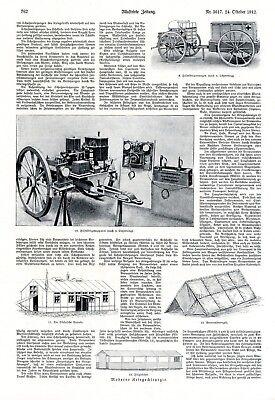 Chirurgie im Krieg Bericht 1912 2 XL Seiten 13 Abb. Wehrmedizin Feldscher