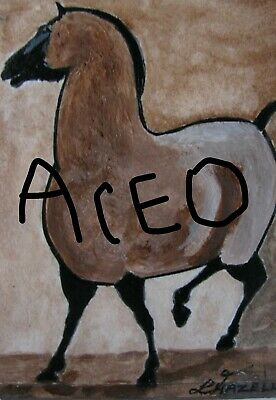 "A868 NEW-  ORIGINAL ACRYLIC ACEO PAINTING BY LJH ""TWEETY BIRD""  One-Of-A-Kind 7"