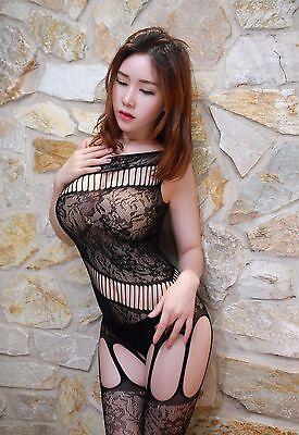 Bodystocking A Rete Cavallo Aperto Sexy Nero Black Open Crotch Lingerie Catsuit 7