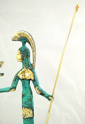 Ancient Greek Bronze Museum Statue Replica Of Athena Wth A Spear And Winged Nike 6