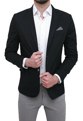 premium selection 95ad1 1675d GIACCA UOMO ELEGANTE nero slim fit blazer cerimonia con pochette da taschino