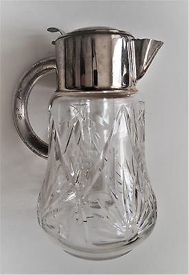 VTG W. Germany Cocktail Cut Glass Claret Jug/ Cooler Inside Silver plated Collar 6