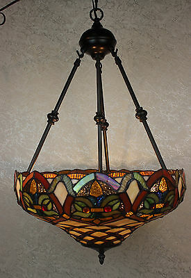 "Tiffany Style Baroque Hanging Lamp Stained Glass 16"" Shade Handcrafted 2"