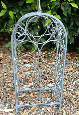 WINE RACK Metal 7 Bottle Storage Holder Decorative Stand Gunmetal Grey