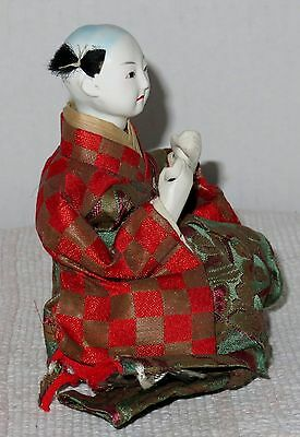 """Antique Japanese Seated 4.5"""" Musician Drummer Hina Doll BH4#AD4161415.8 2"""