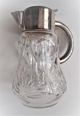 VTG W. Germany Cocktail Cut Glass Claret Jug/ Cooler Inside Silver plated Collar 7