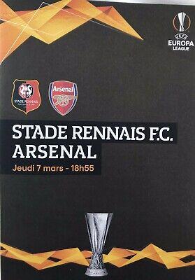 Rennes (Stade Rennais) V Arsenal 7:3/19. Europa League Programme & Sport Journal 2