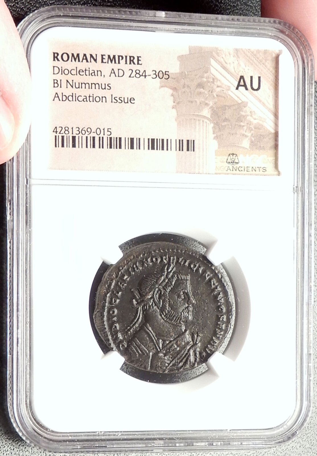 DIOCLETIAN Abdication Issue 305AD Ancient Roman Coin of London NGC AU i67623 3