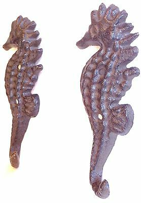 New Cast Iron Seahorse Nautical Hook Hanger Decor - Saltwater Decor - 1 Pair 2