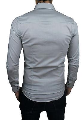 Camicia Uomo Casual Grigio Chiaro Slim Fit Aderente Elasticizzata  S M L Xl Xxl 3