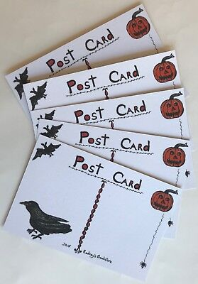 25 Halloween Postcards NEW Vintage Reproduction Lot 5 Designs Black Cat Witch 3